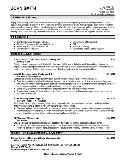 Click Here to Download this Security Professional Resume Template - school security officer sample resume