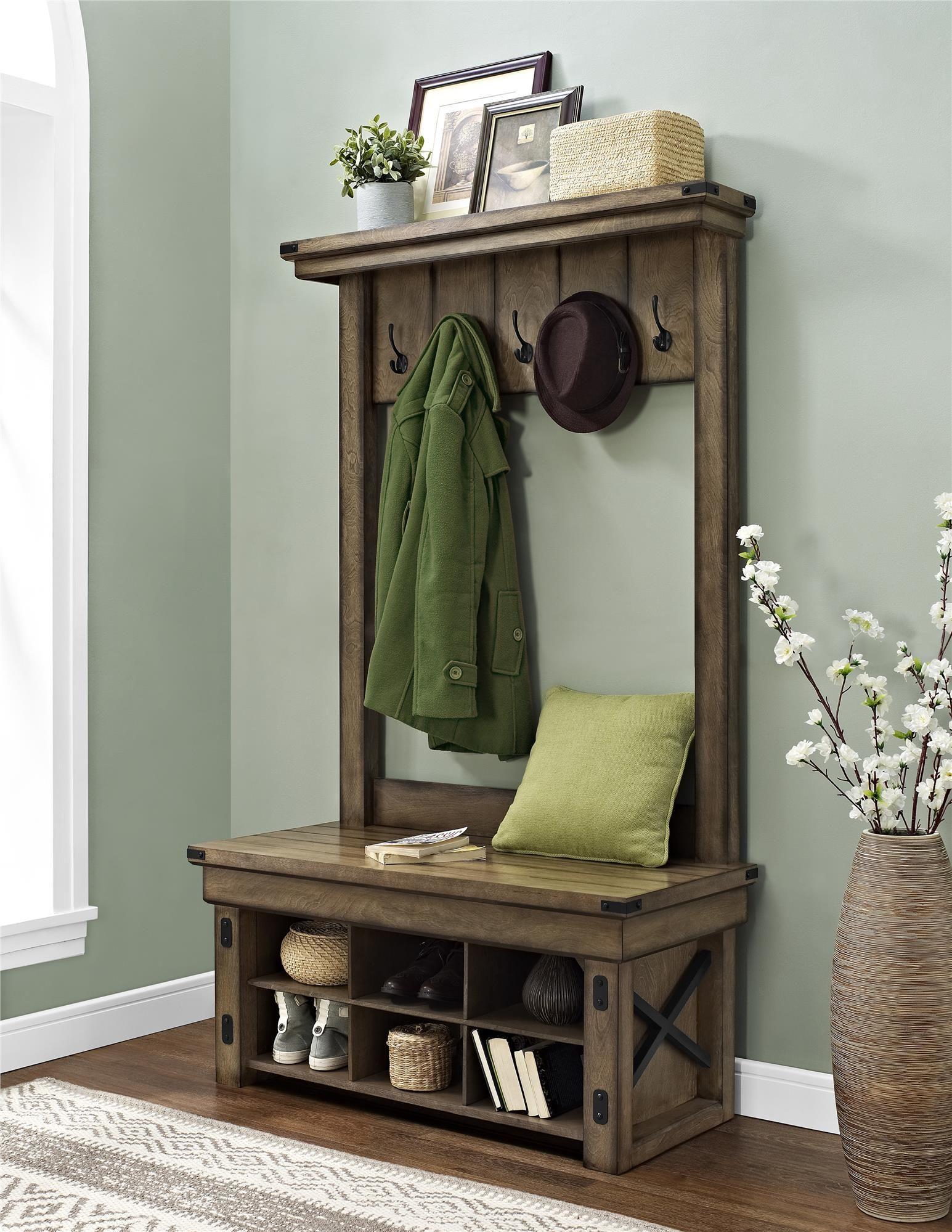 Ameriwood Furniture Wildwood Wood Veneer Entryway Hall Tree With Storage Bench Rustic Gray Oak