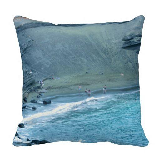 Green Sands Beach Hawaii Throw Pillow