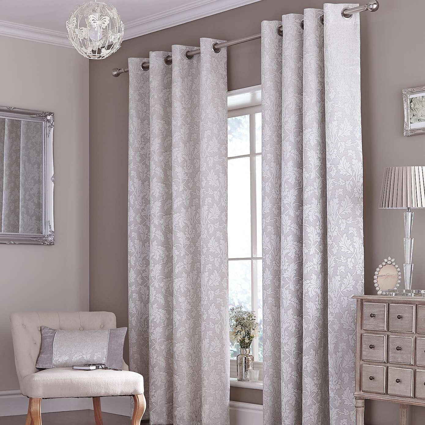 Silver Canterbury Eyelet Curtains French Country Living Room Living Room Grey Curtain Designs