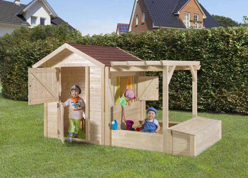 Kinder Holz-spielhaus Weka Tabaluga Drachenhöhle Inkl. Sandkasten ... Sandkasten Selber Bauen Ideen Tipps Garten Kinder Spiel