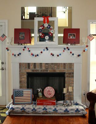 July 4th Fireplace Decor Everything Red White N Blue