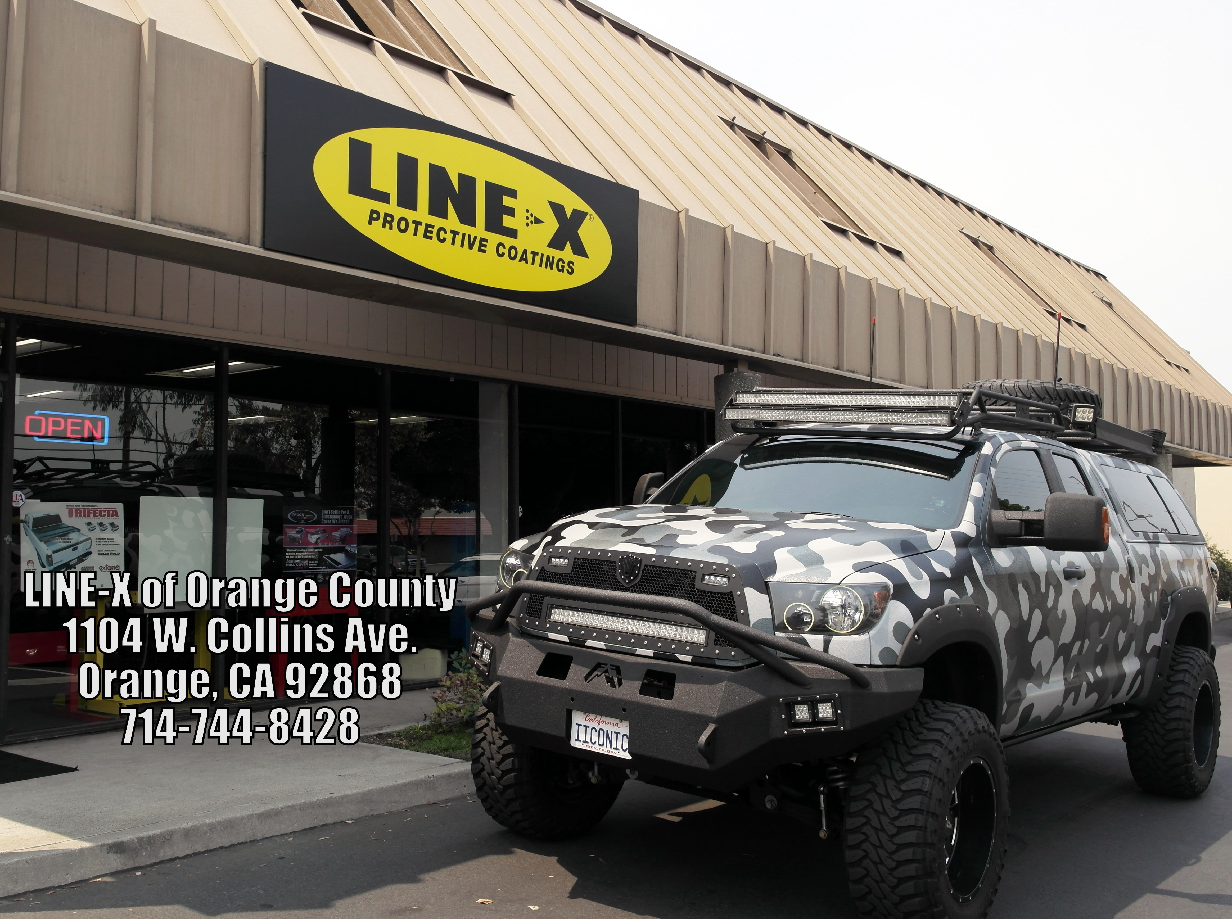Line x of orange county completely sprayed tundra with a custom camo paint job over