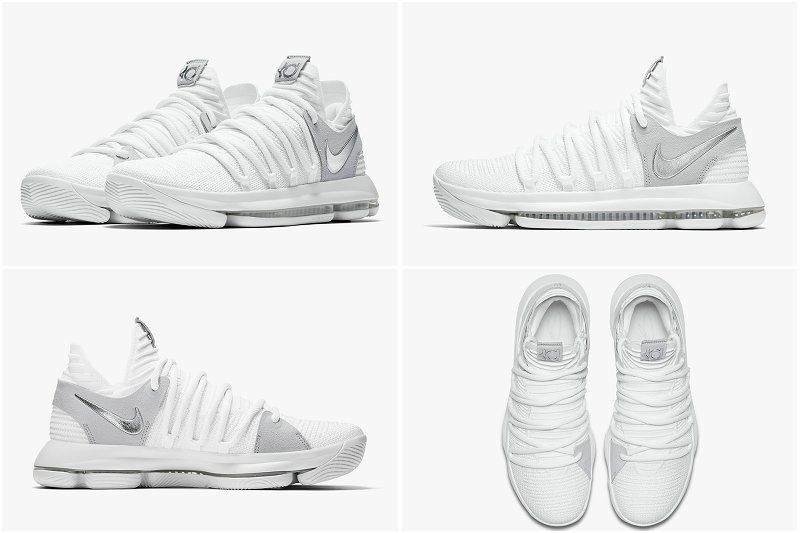 low priced 25890 0510b Sale New NIKE Newest KD 10 STILL Newest KD White Chrome Pure Silver  897815-100