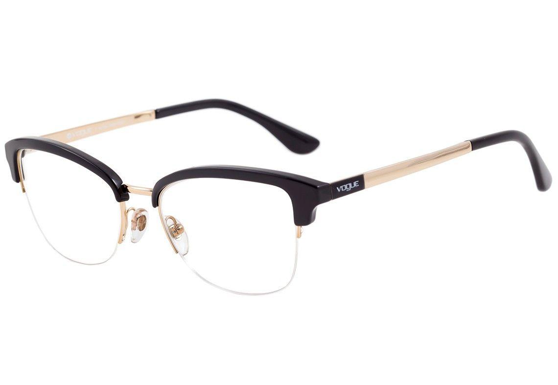 Vogue Vo 5072 L Oculos De Grau 2461 Preto E Dourado Brilho