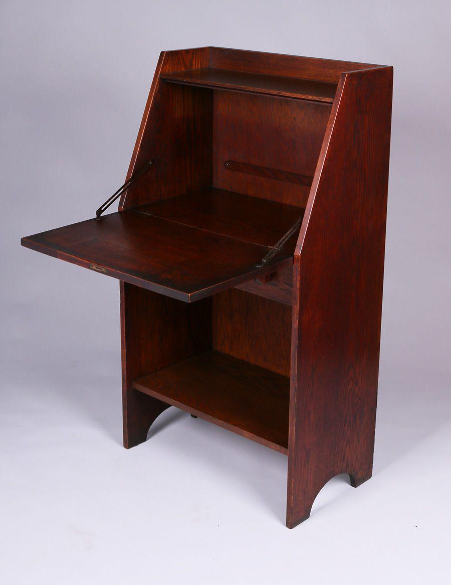 Early Gustav Stickley Drop Front Desk C1902 Gustav Stickley Craftsman Style Furniture Mission Furniture