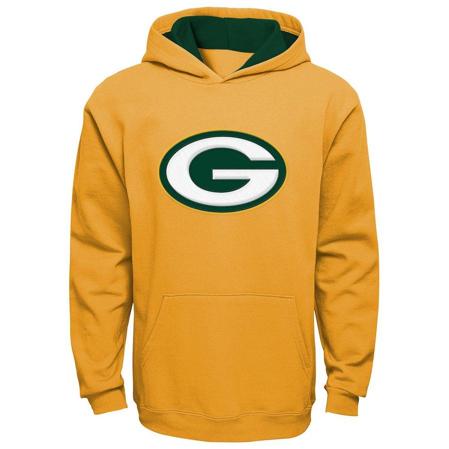 3d8492be Youth Green Bay Packers Gold Fan Gear Prime Pullover Hoodie ...