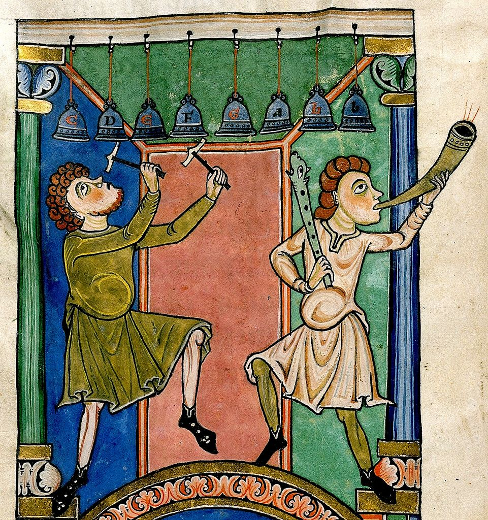 Musicians playing Bells and Horn. Germany 12th cent. Harley 2804 BL