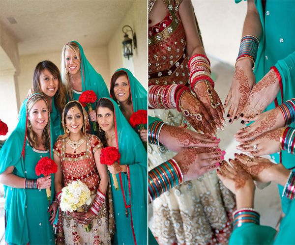 Mehndi Party Saree : Henna not only on bride but hands of bridal party too wed