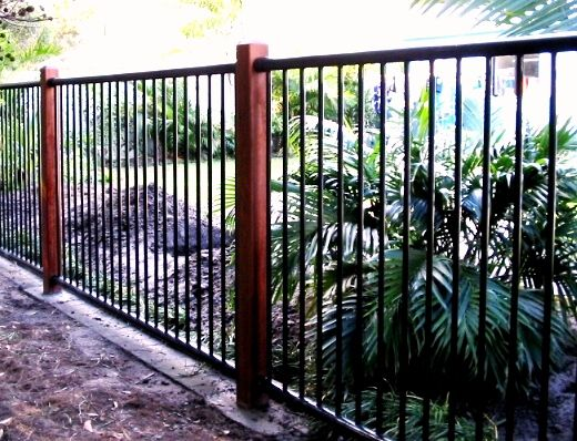 Black Flat Top Aluminium Fencing With Timber Posts By Fencepac Http Www Fencepac Com Au Residential Fences Backyard Fences Patio Fence Backyard Fence Decor