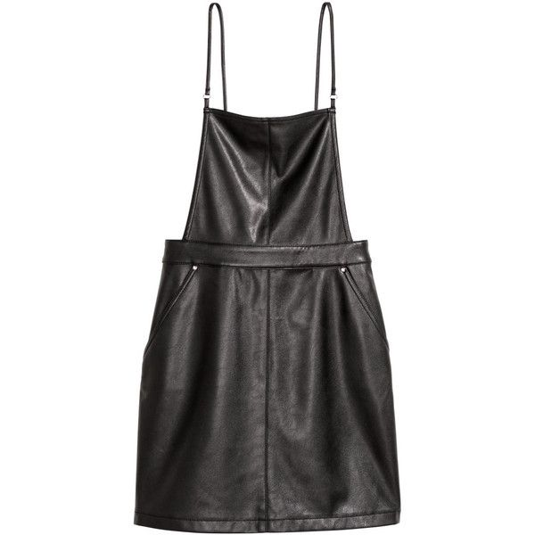 Bib Overall Dress $29.99 (680.745 VND) ❤ liked on Polyvore featuring  dresses, strappy dress, short overalls, tie dress, side zip dress and strap  dress