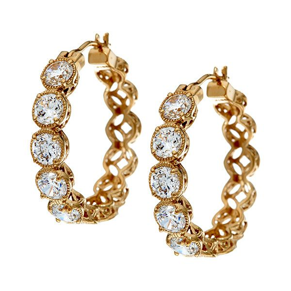 f92ba7ac9 Diamonique Diamonique® & Gold Textured Hoop Earrings ($37) ❤ liked on  Polyvore featuring