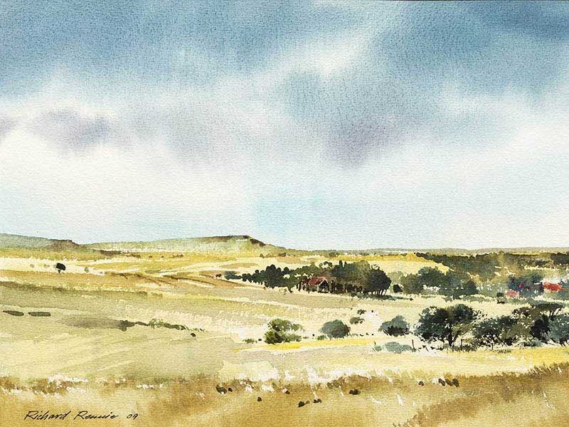 Richard Rennie (SA, born 1932) 2 x Watercolours, Extensive Landscapes, Signed, 42 x 66