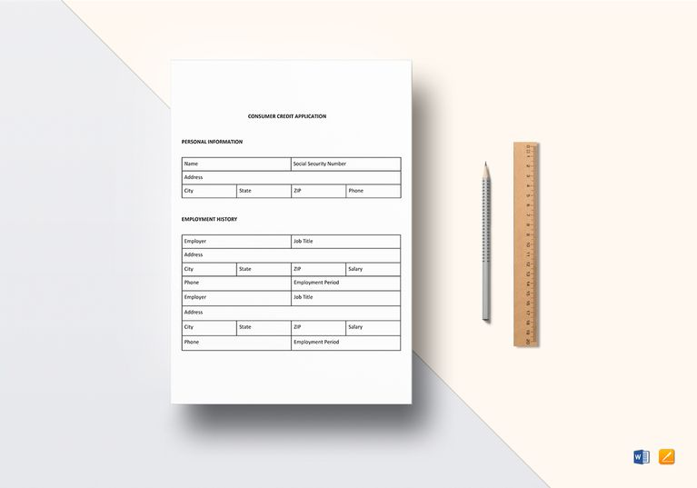 Consumer Credit Application Sample Template  Document Design