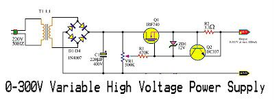 Variable High Voltage Power Supply Circuit Schematic