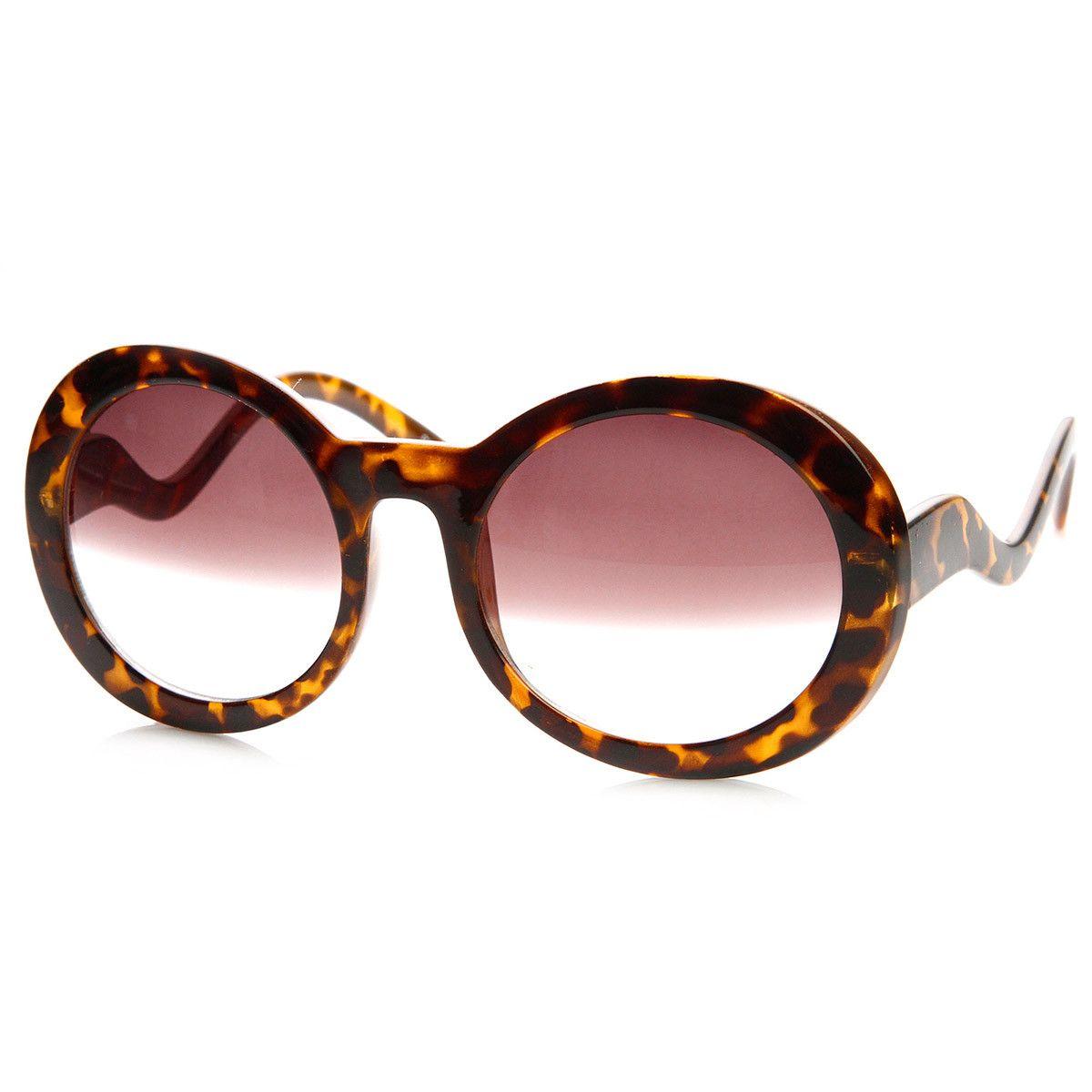 Womens High Fashion Round Half Tint Celebrity Oversized Sunglasses