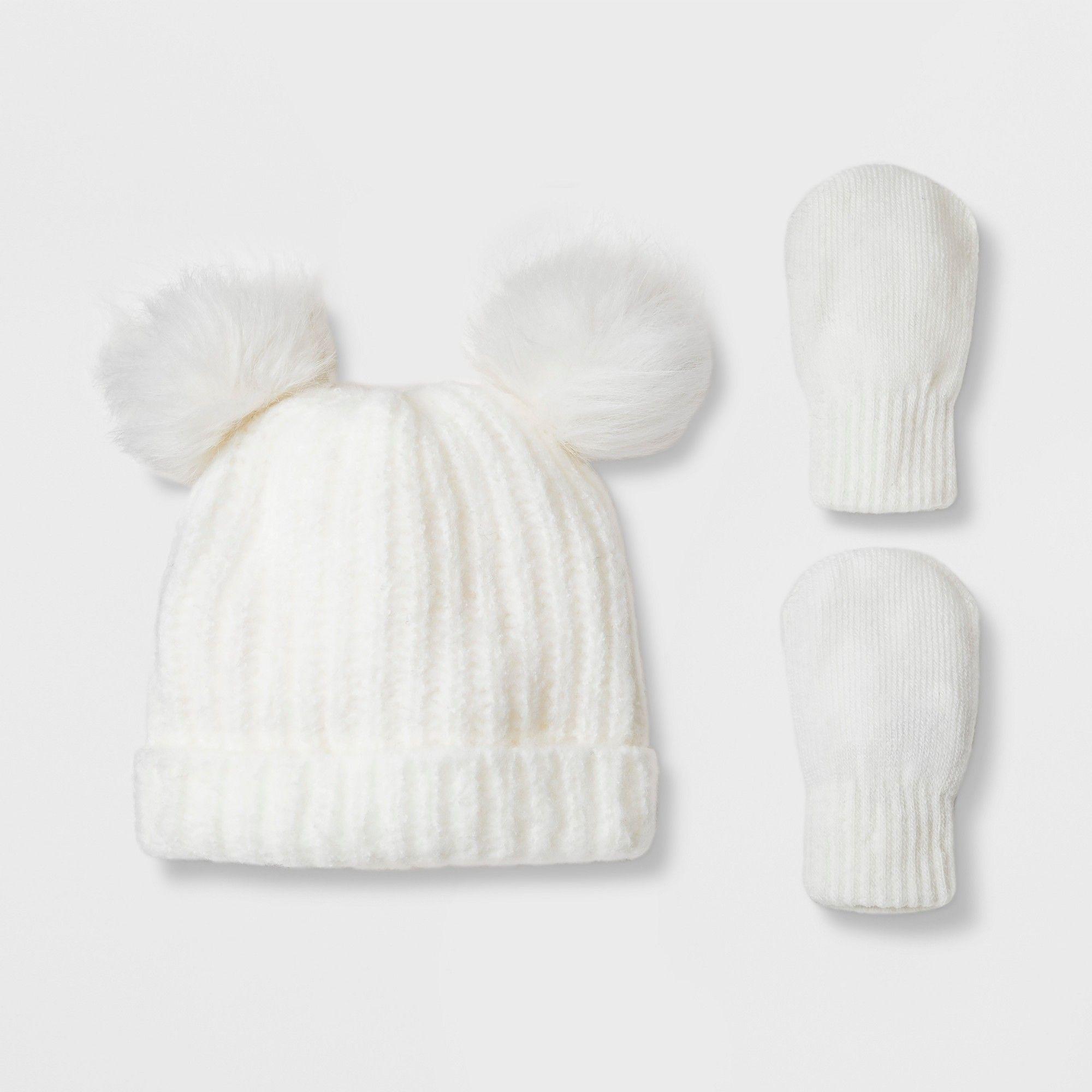 207d8346c83 Toddler Girls  Faux Fur Pom Beanie Hat and Mitten Set - Cat   Jack Cream  12-24M