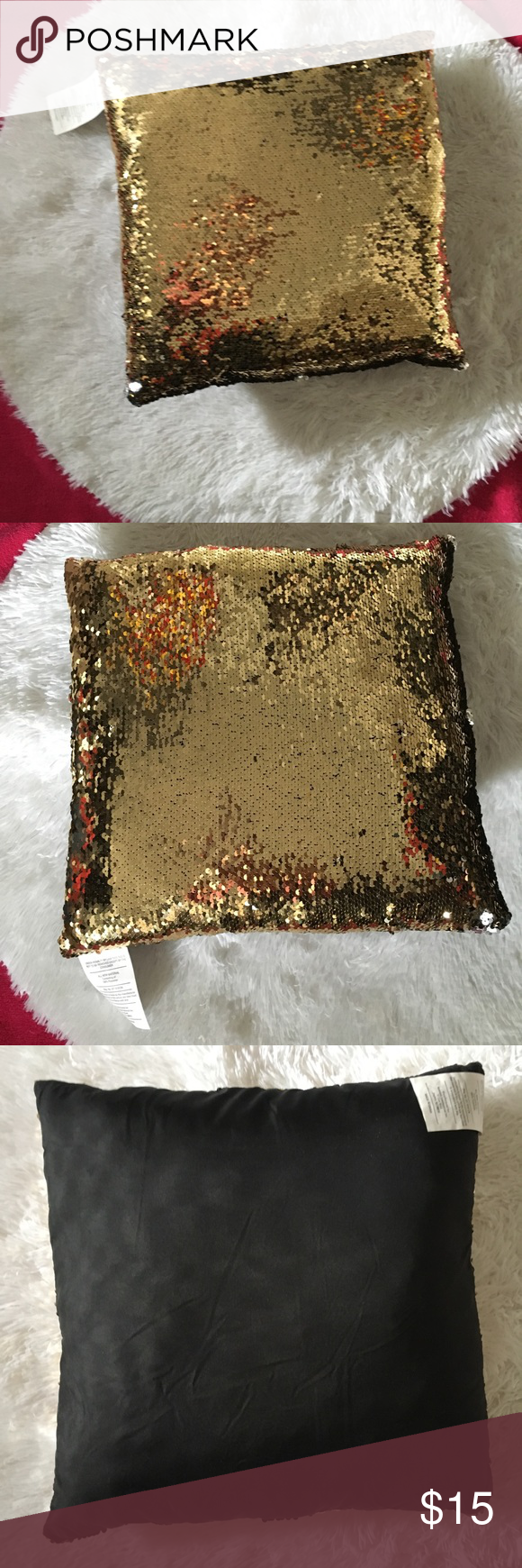 Reversible Sequin gold & silver pillow Material:Sequins  100% brand new and highquality  Shape:Square Home Decoration Comfortable Fashion style  Brand Unbranded  Style, design and decorate with a little extra bling.. Run your hand against the sequin to create an alternative color or design. These throw pillow make for great gifts for either a bridesmaid or house warming party!   Sequin applied to one side of the pillow. The back size of the pillow cover is plain black unbranded Other #howtoapply #howtoapplybling