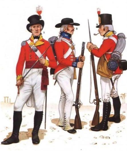 """Ufficiale del 28 rgt. fanteria di linea """"Gloucestershire"""", caporale del rgt. svizzero """"De Roff's """" e fuciliere del 10 rgt. fanteria """"North Lincoln"""""""