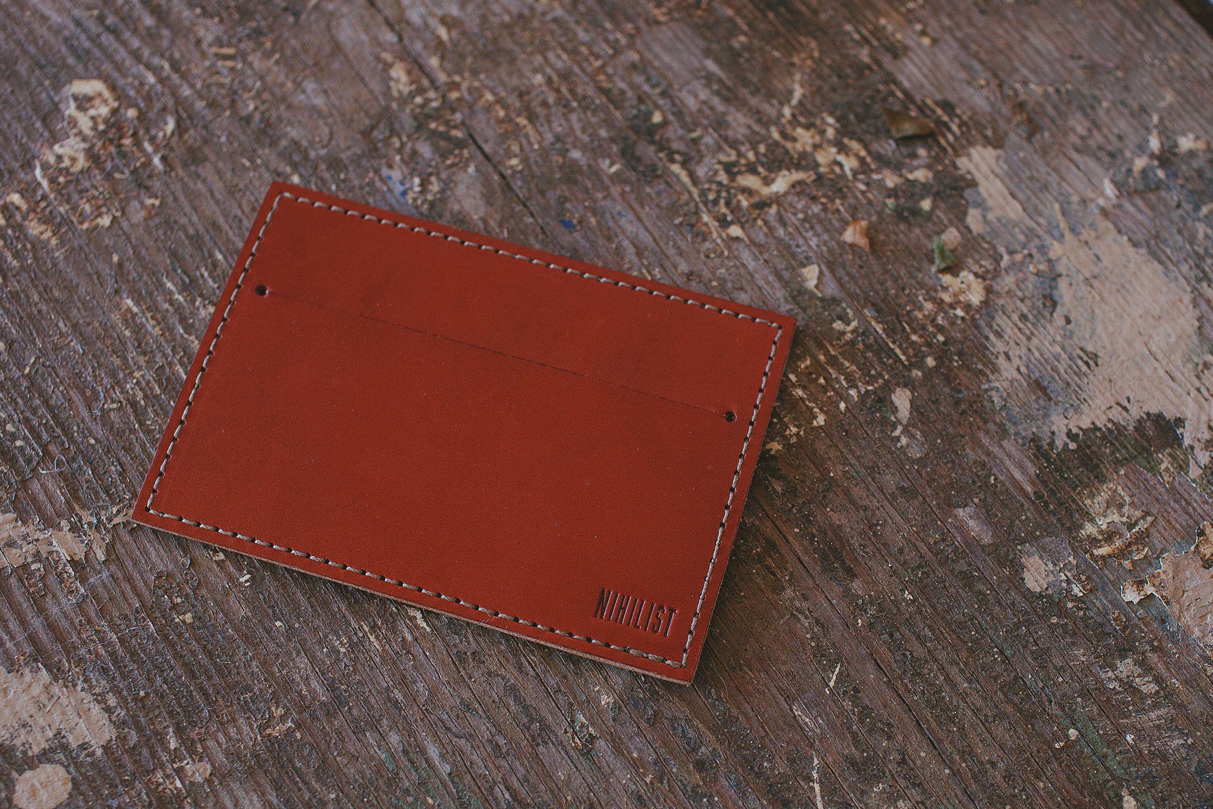 Chestnut leather card wallet