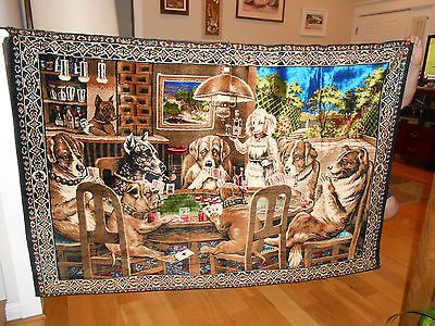 Rare Vintage Wall Tapestry Dogs Playing Poker 73x49 Called A Friend In Need Tapestry Dogs Playing Poker Vintage Walls