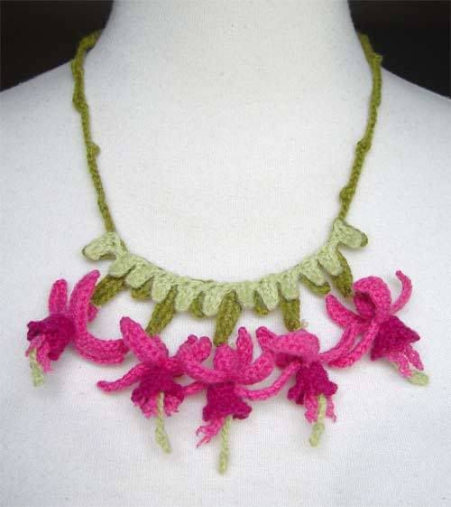 crocheted pink flower