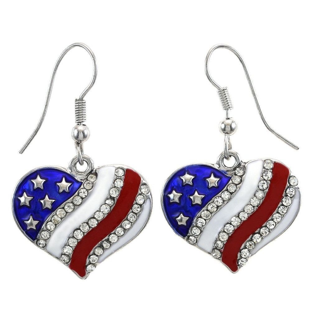 Heart Rhinestone Patriotic 4th of July Independence Day Earring Type  Drop  Earrings Item Type  Earrings Fine or Fashion  Fashion Style  Classic  Material  ... 1ac7ae615aae