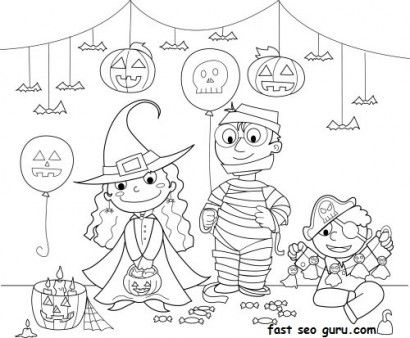 Kids Halloween Costume Party Ideas Coloring Page Printable