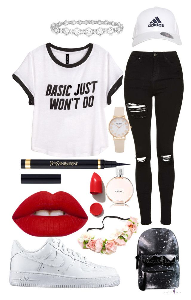 """hii guyyyaaaszs"" by aviva8228 ❤ liked on Polyvore featuring H&M, Topshop, NIKE, adidas, Epoque, Yves Saint Laurent, Lime Crime, NARS Cosmetics and Chanel"