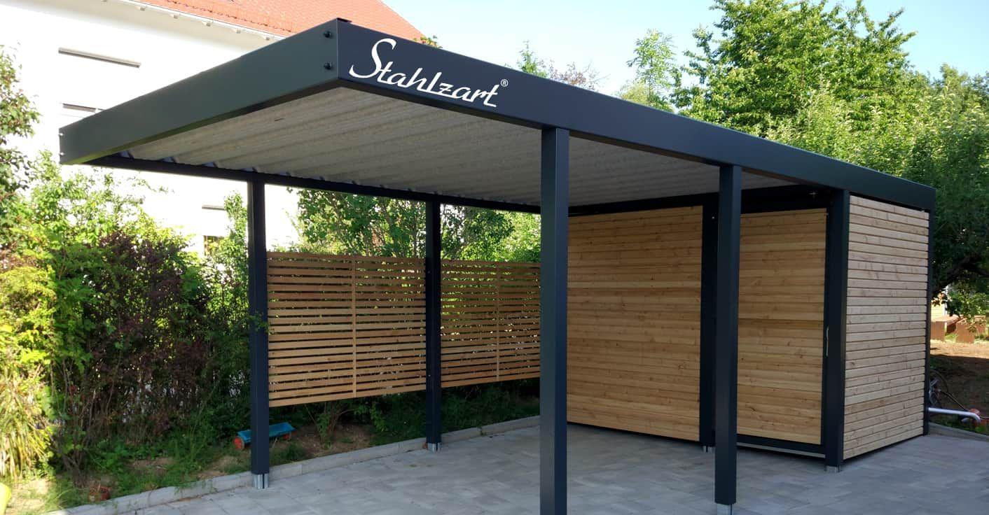 Einzel Carport Metall Stahl mit Abstellraum · Holz modern