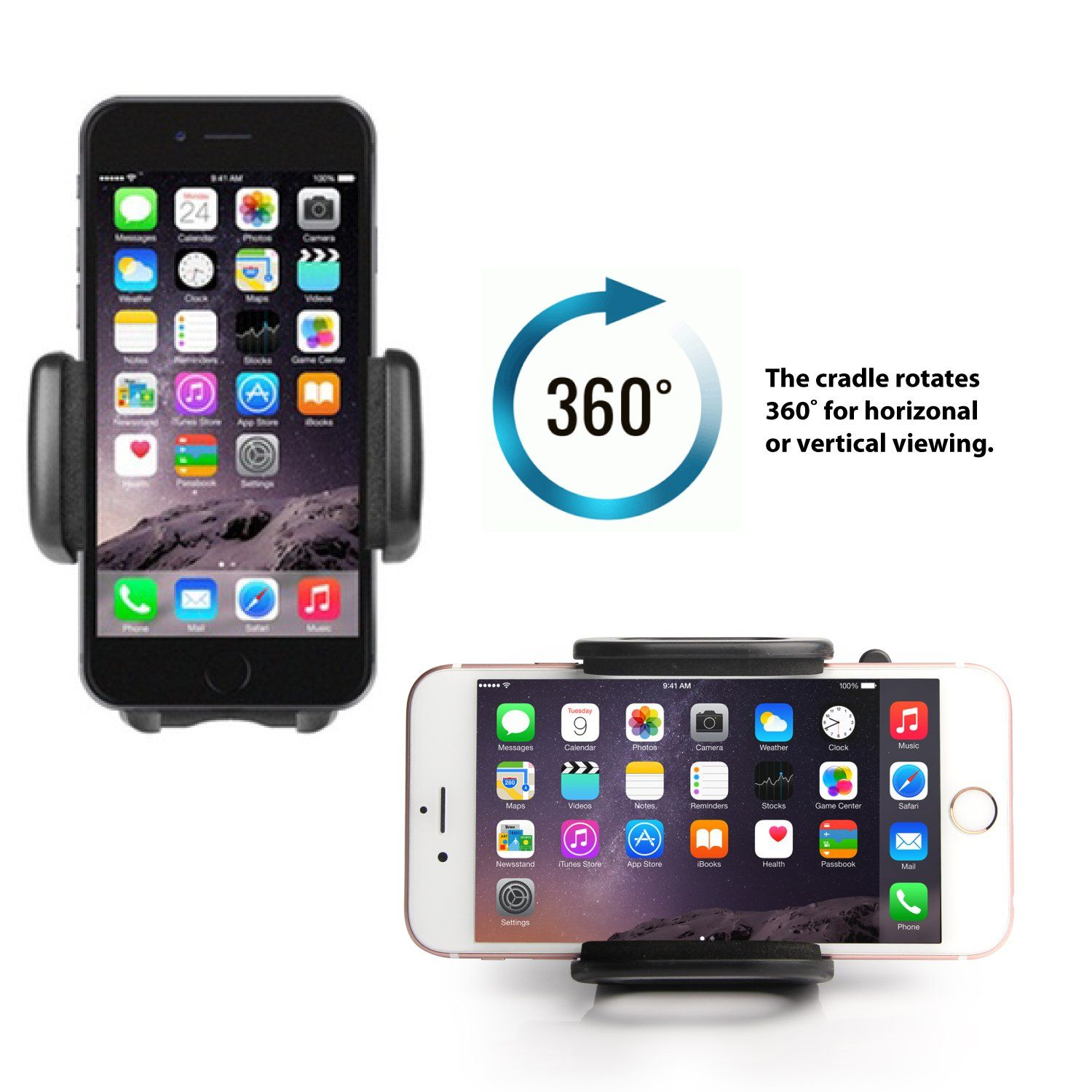 Jarv Premium Flexible Air Vent Car Holder for Apple iPhone 10 X 8 7 6S Plus Samsung Galaxy S 9 S8 S7 Plus, Note 9 8 (all 4-6.3