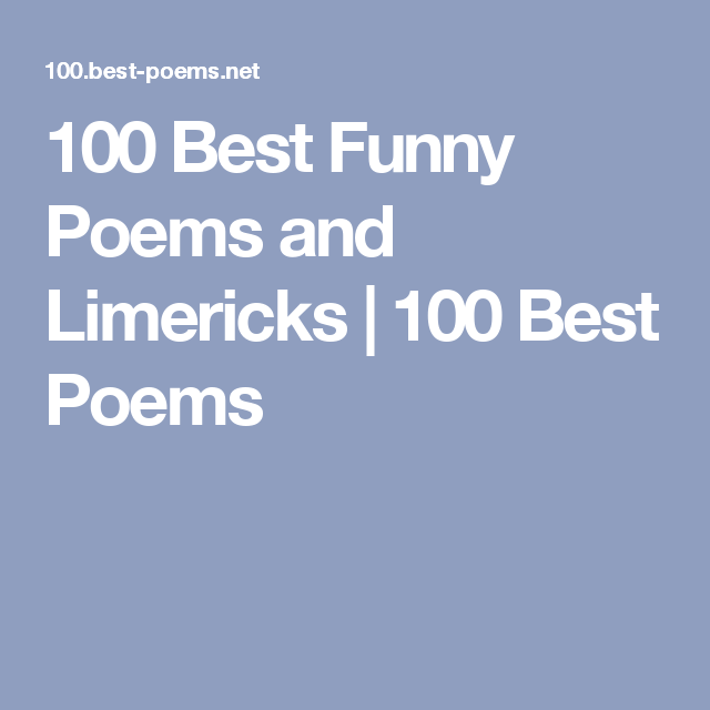 100 Best Funny Poems And Limericks