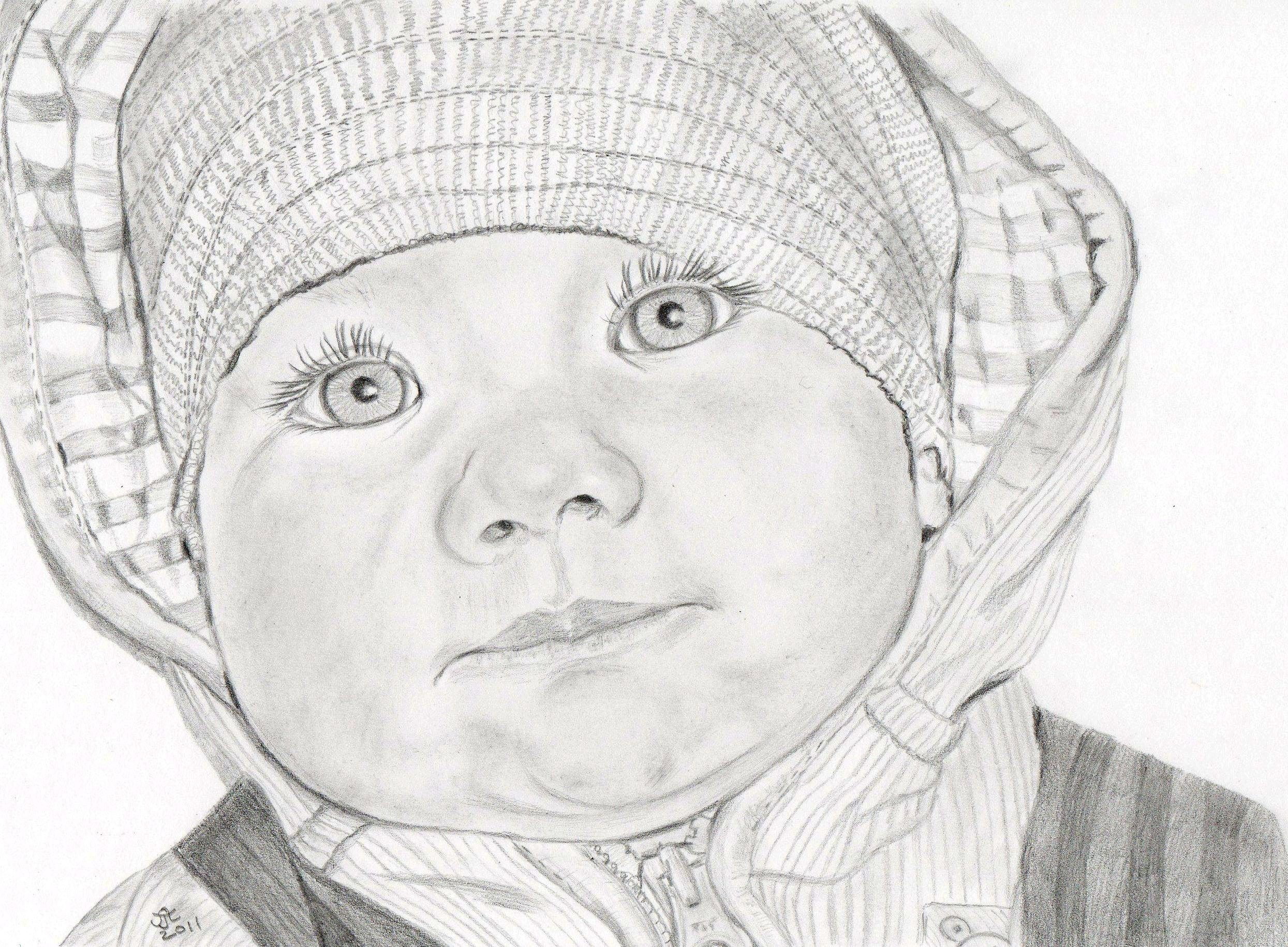 Pencil Tracing Infant Facial Features