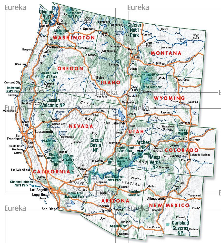 Subaru advertising map of Western US Eureka Cartography Berkeley