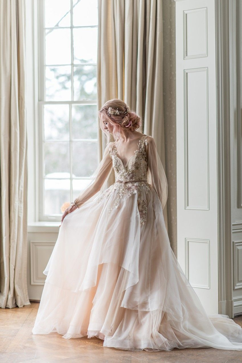 Morning Sky A Dreamy Bridal Inspiration Shoot Chic Vintage Brides Blush Wedding Dress Wedding Gowns Wedding Dress Inspiration [ 1274 x 850 Pixel ]
