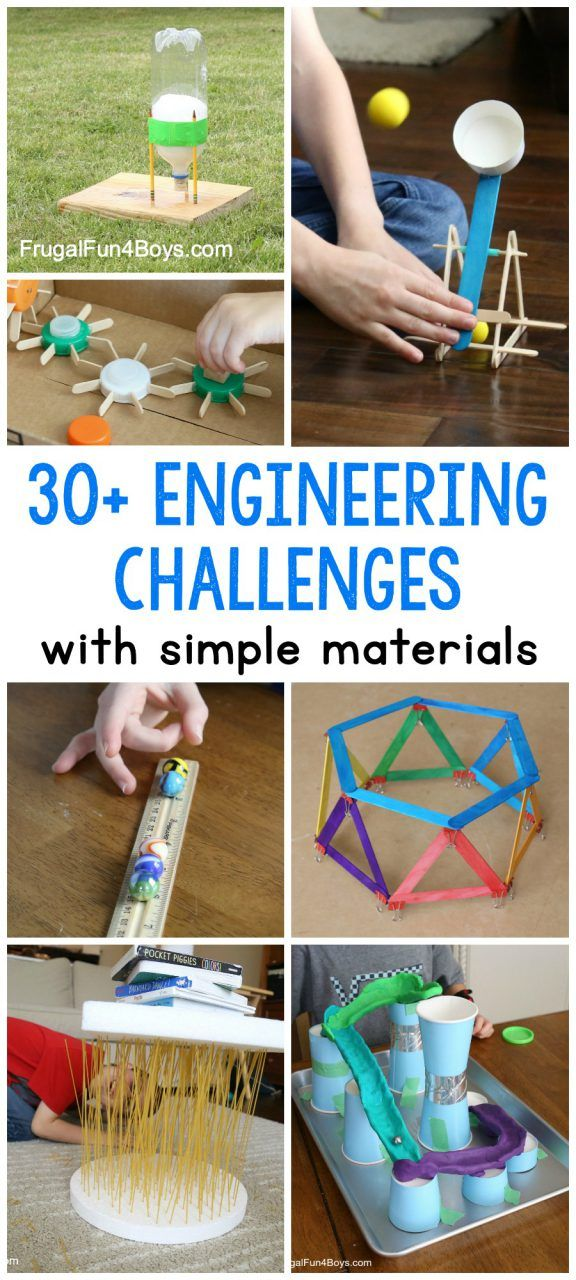 30+ Awesome STEM Challenges for Kids (with Inexpensive or Recycled Materials - Stem activities, Stem challenges, Kids activities blog, Stem engineering, Engineering challenge, Building for kids - 30+ engineering STEM challenges with simple materials  Kids can tinker with bridges, catapults, boats, and more using recycled and inexpensive materials