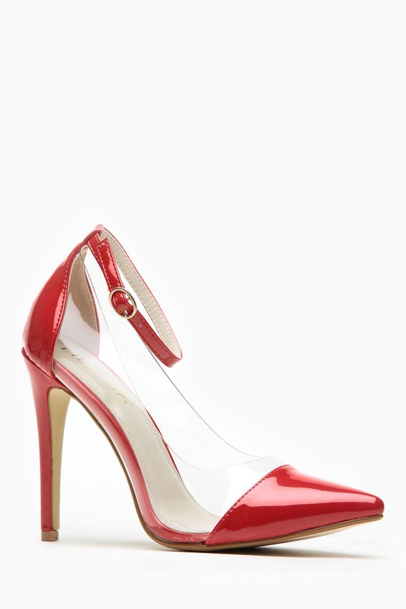 3da7f625930 Liliana Red Pointed Toe Ankle Strap Vinyl Heels #red #hot #wardrobe ...