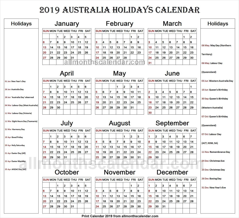 Australia Holiday List 2019 Calendar Holiday List Holiday Calendar