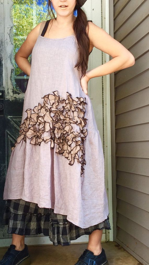 Gray Linen Mini Petals Dress XL by sarahclemensclothing on Etsy