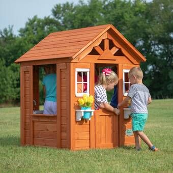 KidKraft 4' x 6' Indoor/Outdoor Playhouse, Wood in Gray, Size Medium (3' - 5') | Wayfair