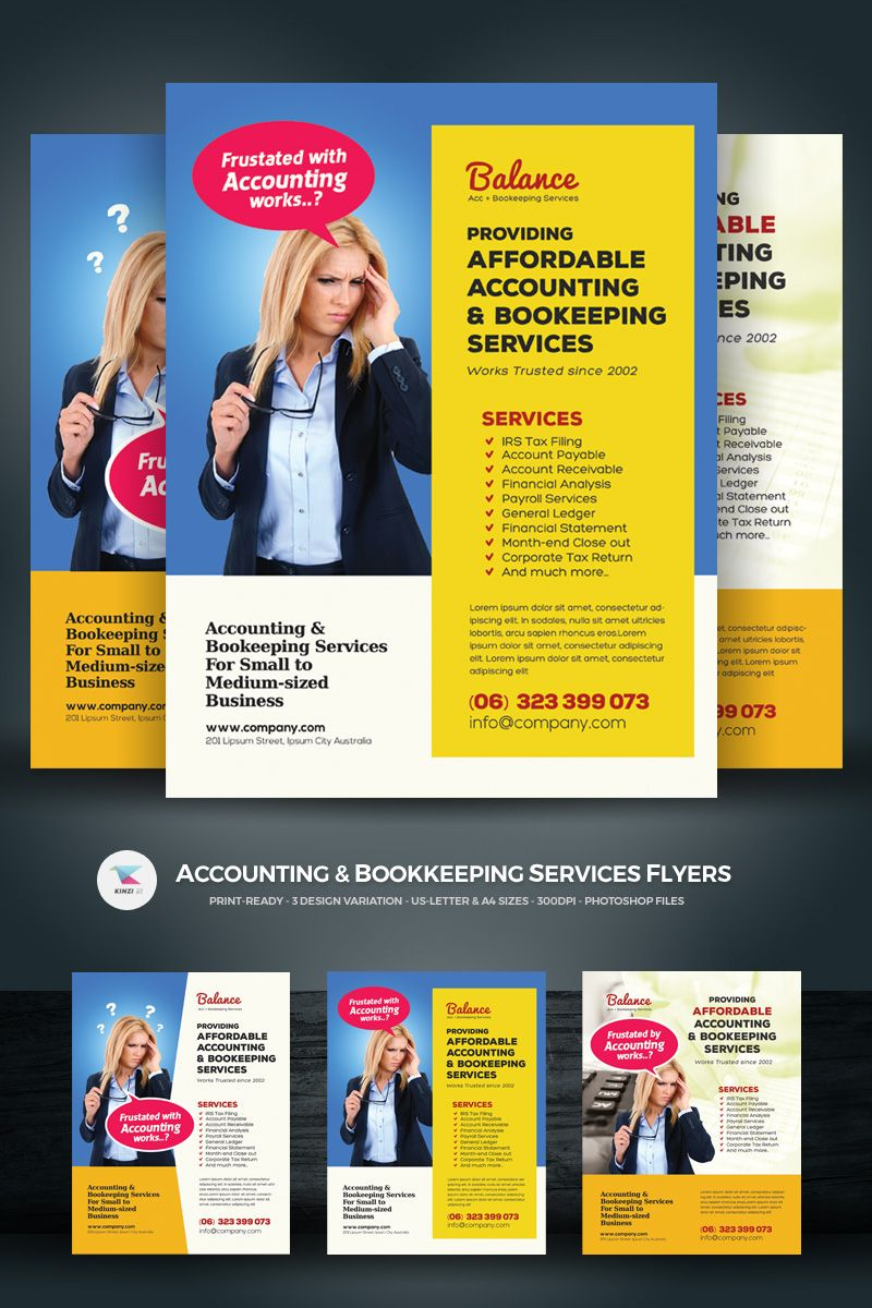 Accounting bookkeeping services flyers corporate