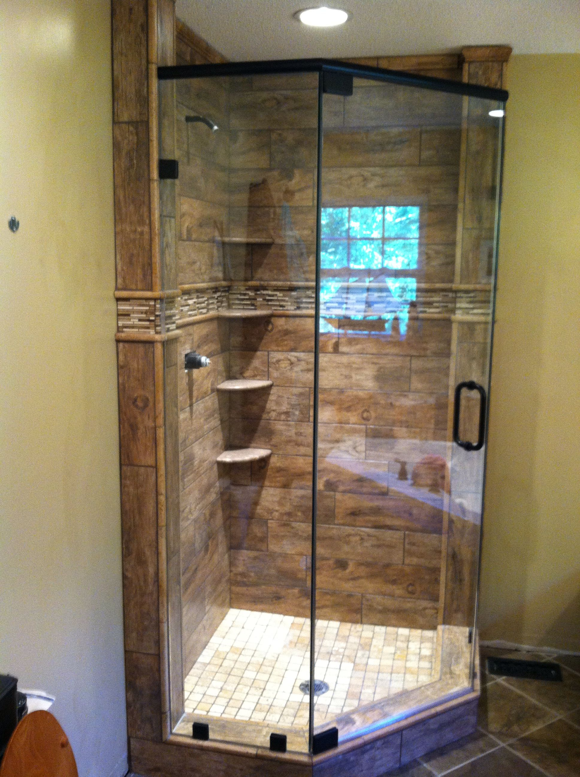Faux Wood Shower Tile Designed Built By Anderson Stone