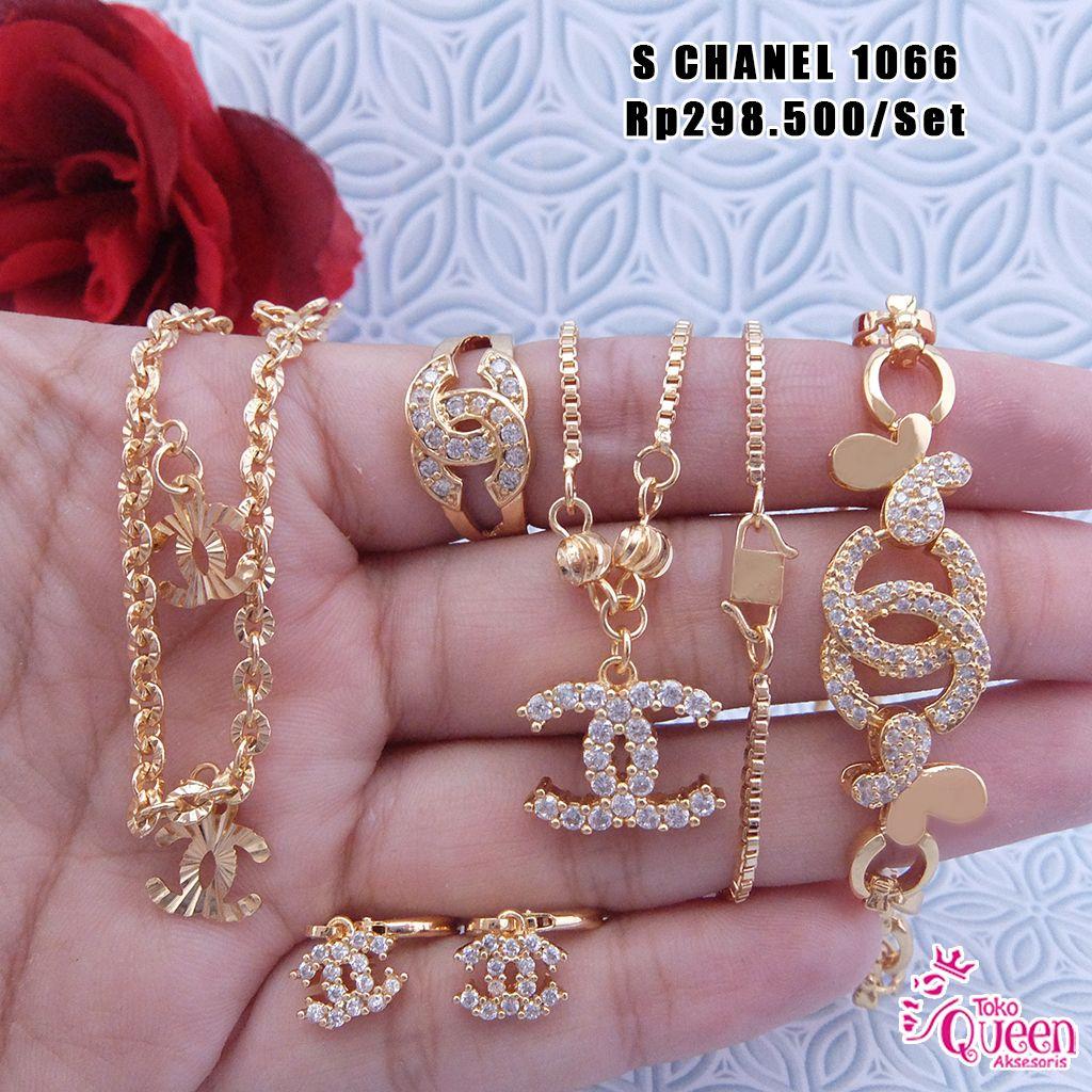 Perhiasan Korea Chanel Lapis Emas Pemesanan Hubungi Call 1 Set Perak Permata Zircon C Sms Wa 081220110861