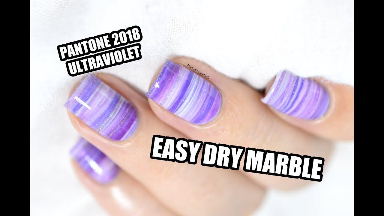Easy Dry Marble Nail Art Tutorial - Pantone 2018 Ultraviolet ...
