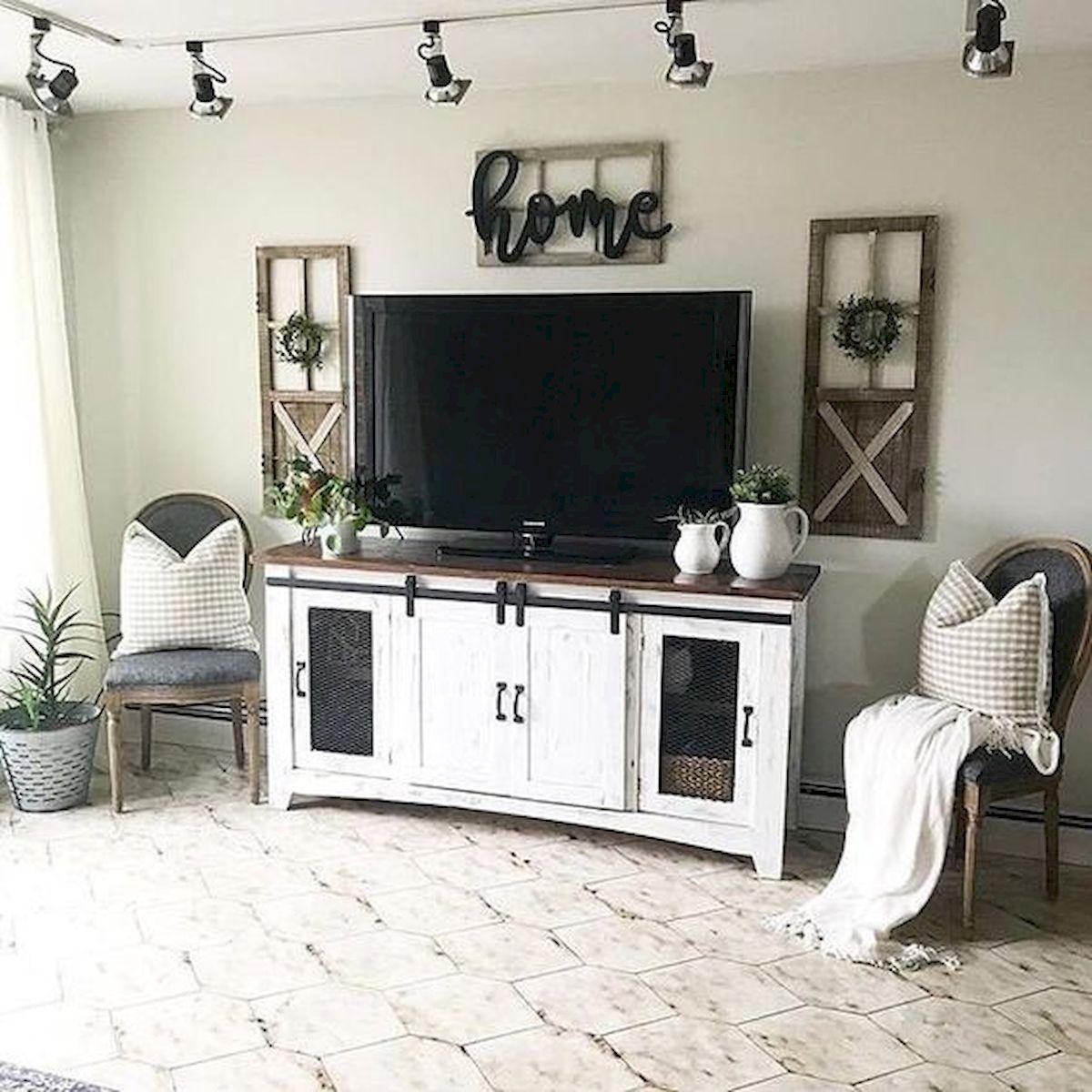 Adorable 33 Best Farmhouse Living Room Tv Stand Design Ideas Https