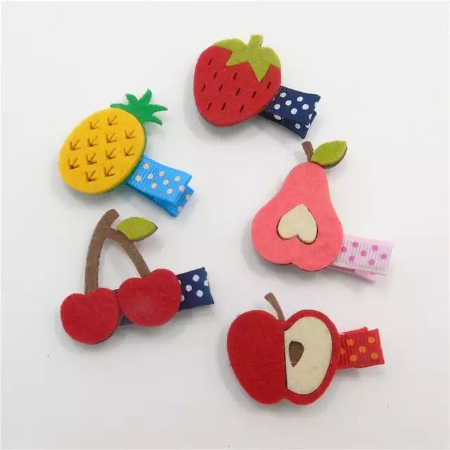 20pcs/lot Fruit Hairpins Non-woven Felt Colorful Pineapple Cherry Pear Apple Cute Fashion Hair Clip Cartoon Kid Hair Barrettes #kidshairaccessories