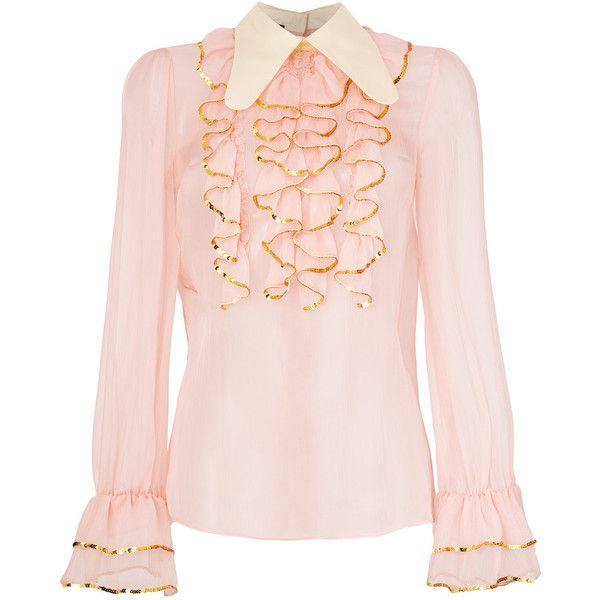 75a53b59dd23f Gucci sheer sequin trim ruffle blouse ( 2