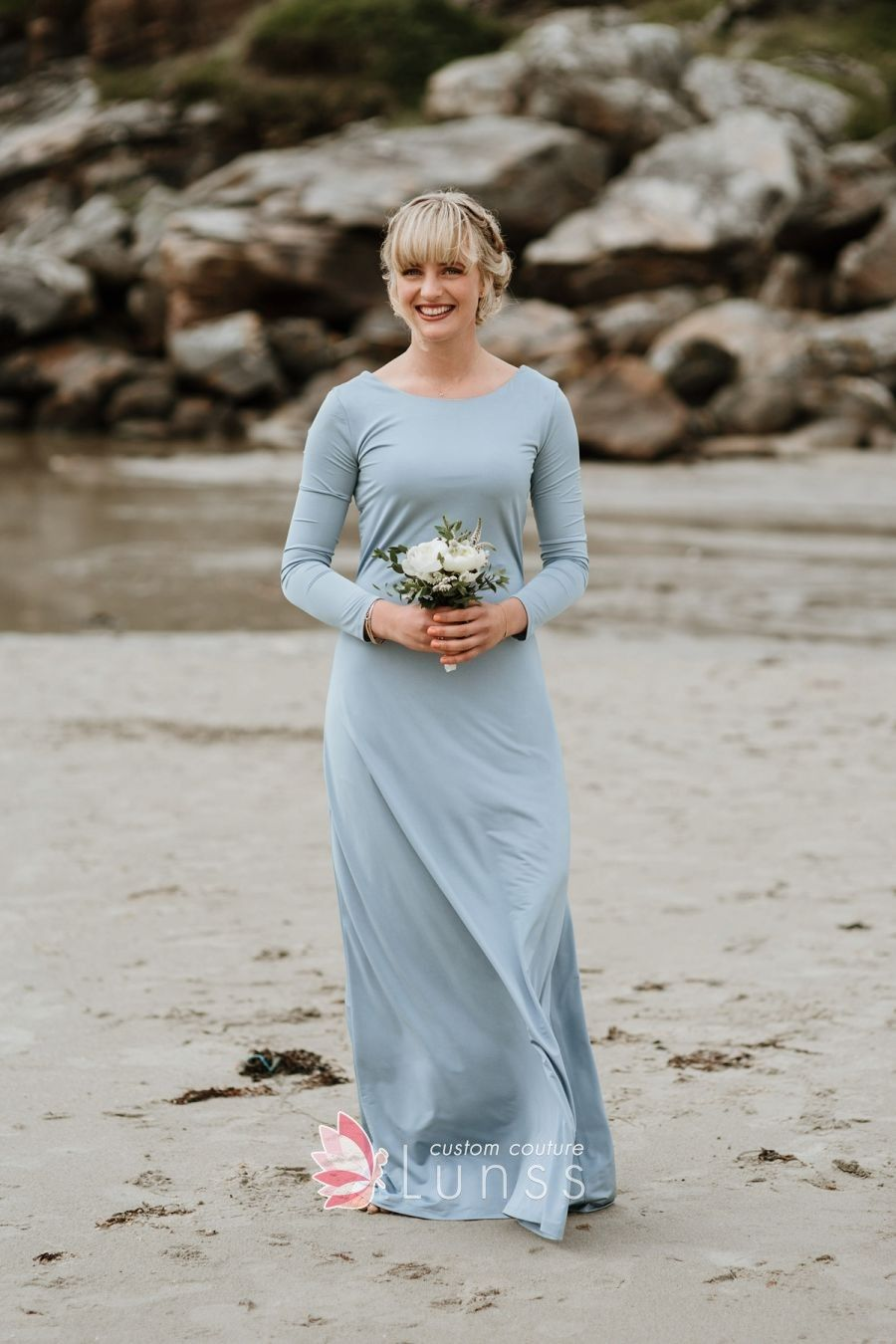 Dusty blue jersey conservative jewel neck long sleeve bridesmaid