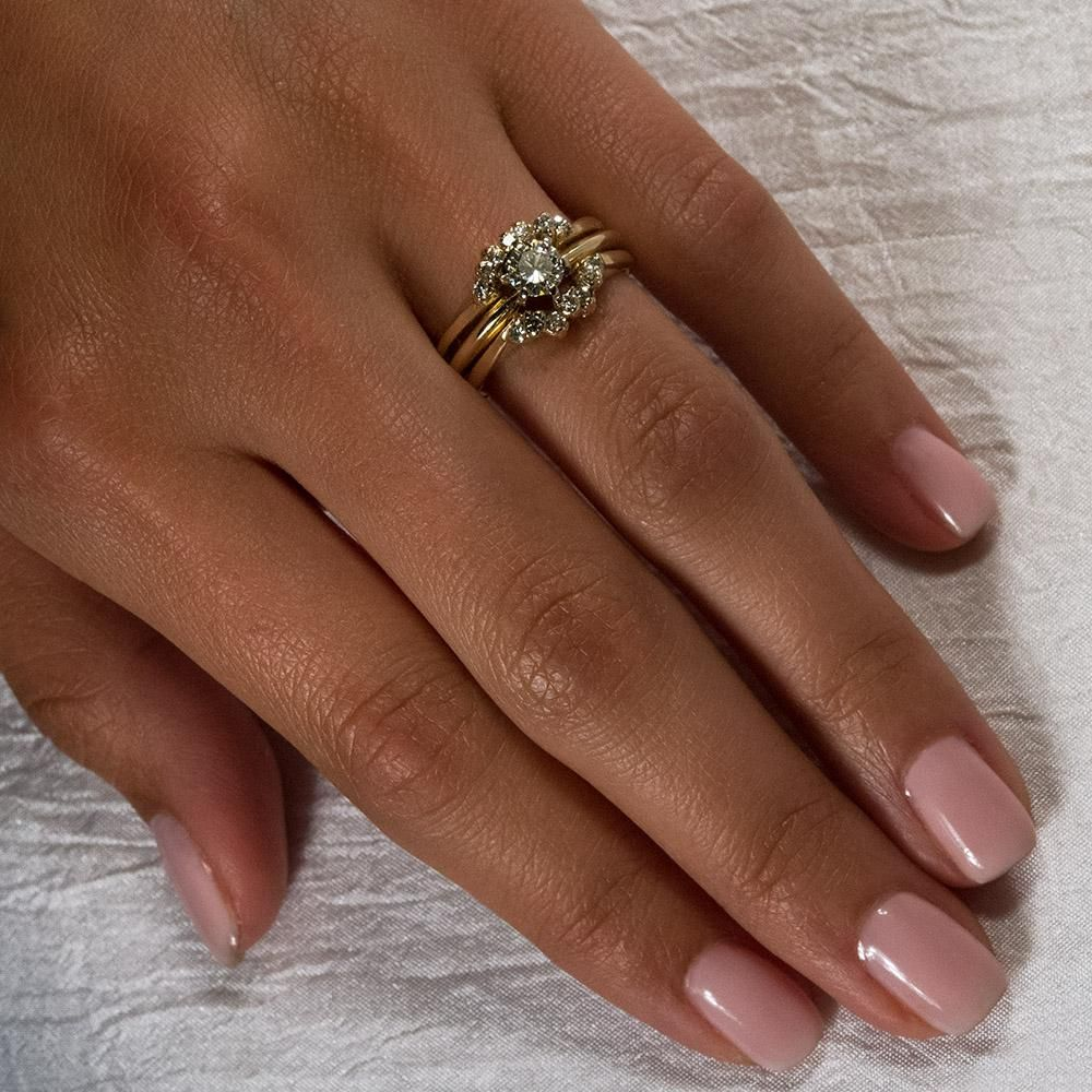 Vintage Diamond Wedding Ring 14k Gold Solitaire Engagement Diamond Sleeve Set