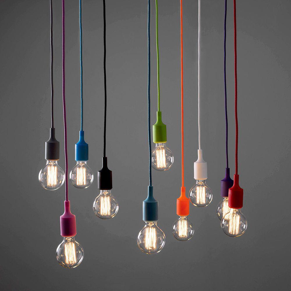 Modern Ceiling Rose Fabric Cable Pendant Lamp Holder Light Fitting Vintage Bulb